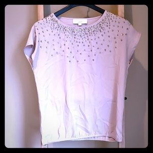 Anne Taylor Loft tan blouse with beads